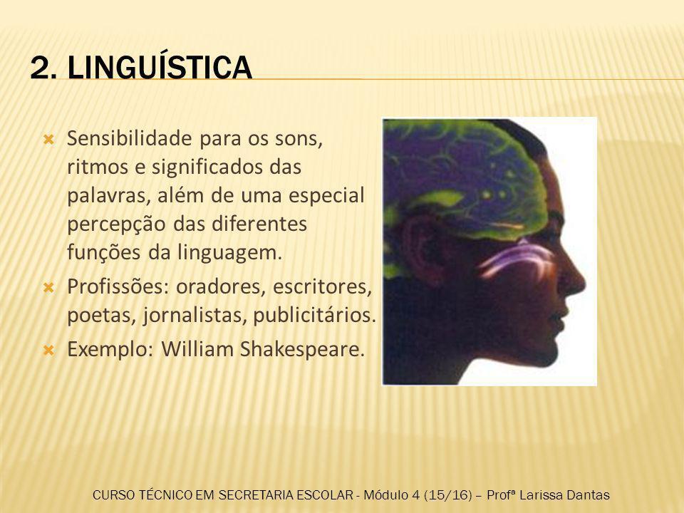 2. LINGUÍSTICA Sensibilidade para os sons, ritmos e significados das palavras, além de uma especial percepção das diferentes funções da linguagem.