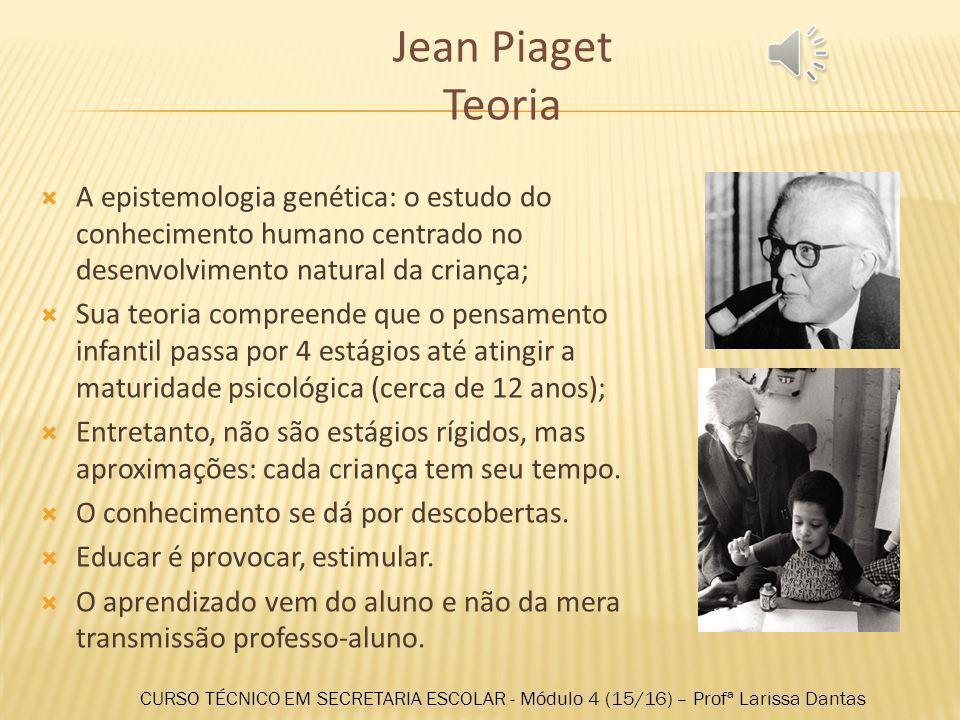 Jean Piaget Teoria A epistemologia genética: o estudo do conhecimento humano centrado no desenvolvimento natural da criança;