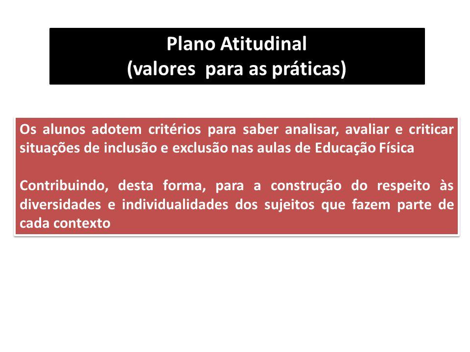 (valores para as práticas)