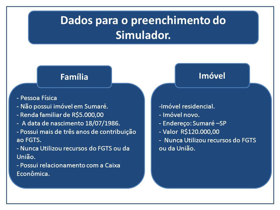 Dados para o preenchimento do Simulador.