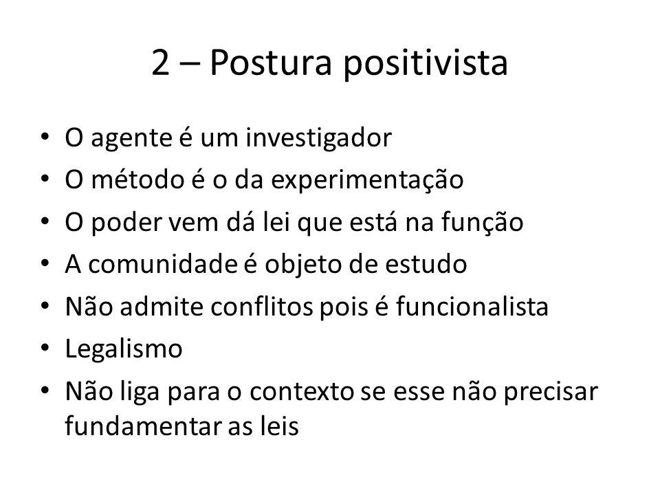 2 – Postura positivista O agente é um investigador