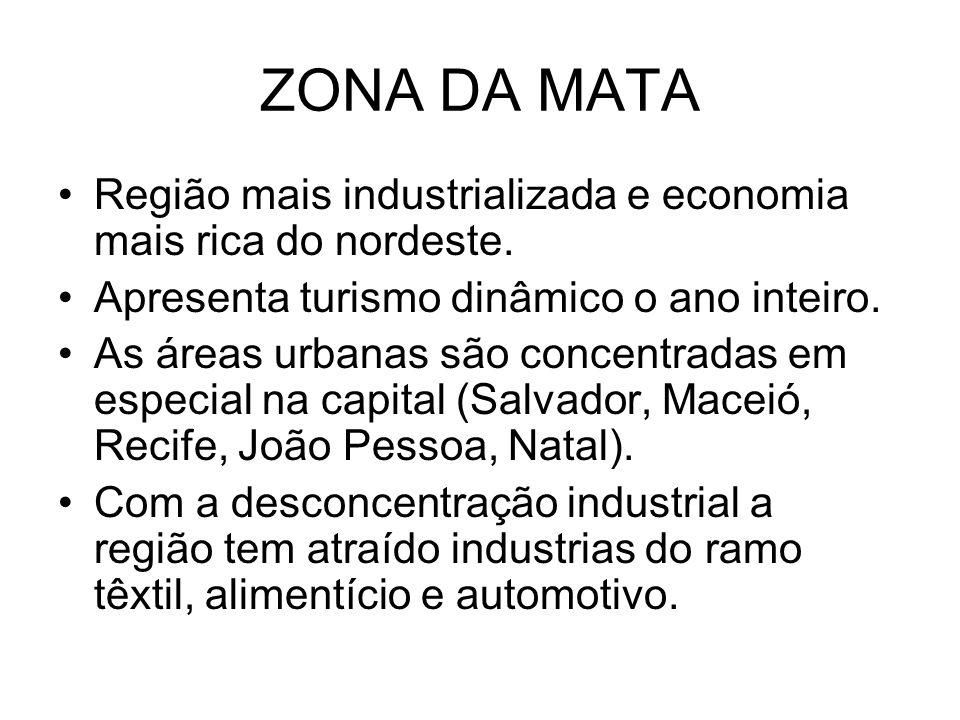 ZONA DA MATA Região mais industrializada e economia mais rica do nordeste. Apresenta turismo dinâmico o ano inteiro.