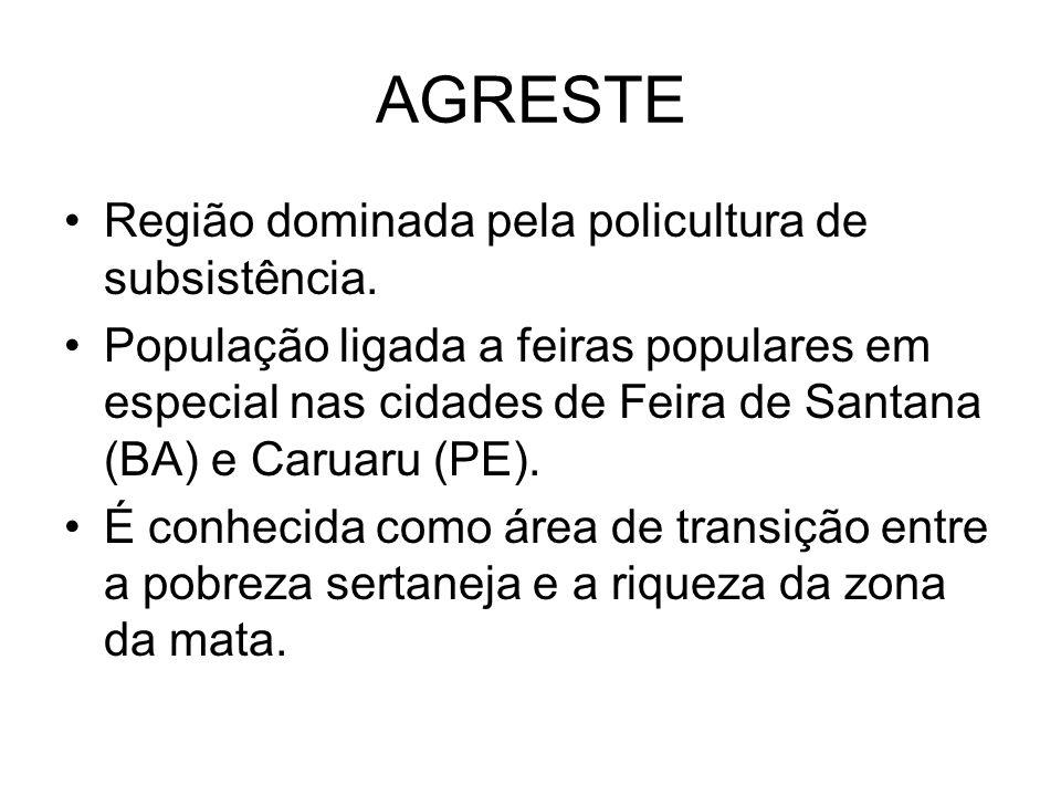 AGRESTE Região dominada pela policultura de subsistência.