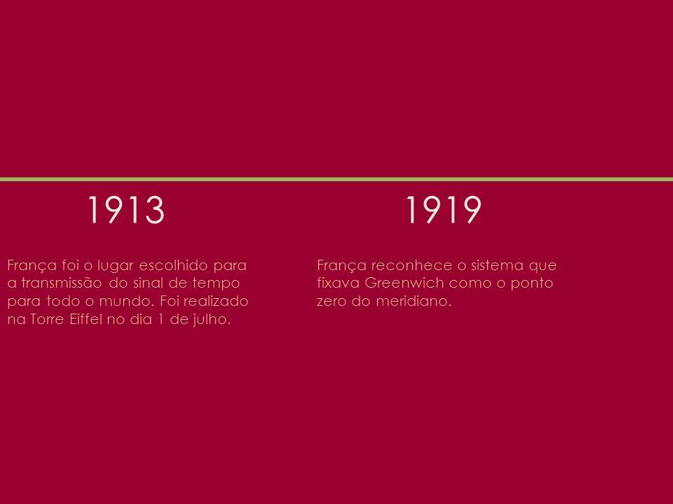 1913 1919. França foi o lugar escolhido para a transmissão do sinal de tempo para todo o mundo. Foi realizado na Torre Eiffel no dia 1 de julho.