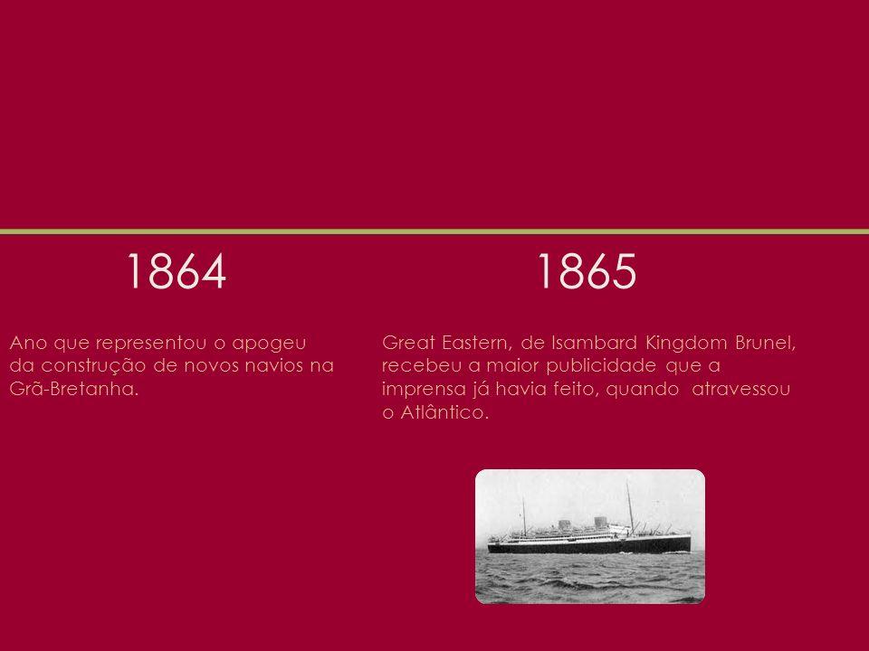 1864 1865. Ano que representou o apogeu da construção de novos navios na Grã-Bretanha.