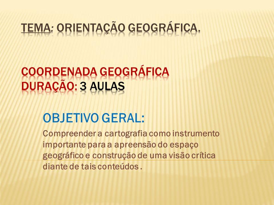Tema: Orientação Geográfica. Coordenada geográfica duração: 3 aulas