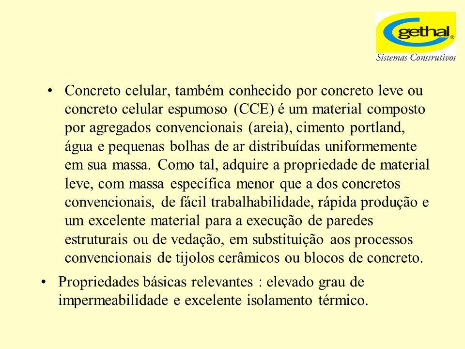 Concreto celular, também conhecido por concreto leve ou concreto celular espumoso (CCE) é um material composto por agregados convencionais (areia), cimento portland, água e pequenas bolhas de ar distribuídas uniformemente em sua massa. Como tal, adquire a propriedade de material leve, com massa específica menor que a dos concretos convencionais, de fácil trabalhabilidade, rápida produção e um excelente material para a execução de paredes estruturais ou de vedação, em substituição aos processos convencionais de tijolos cerâmicos ou blocos de concreto.