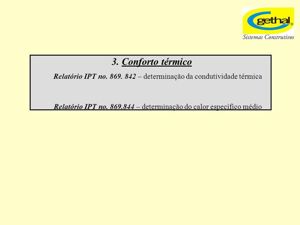 3. Conforto térmico Relatório IPT no. 869. 842 – determinação da condutividade térmica.