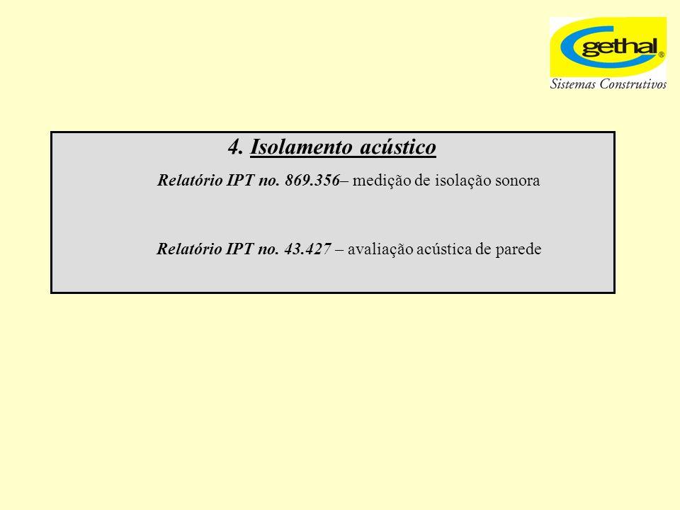 4. Isolamento acústico Relatório IPT no. 869.356– medição de isolação sonora.