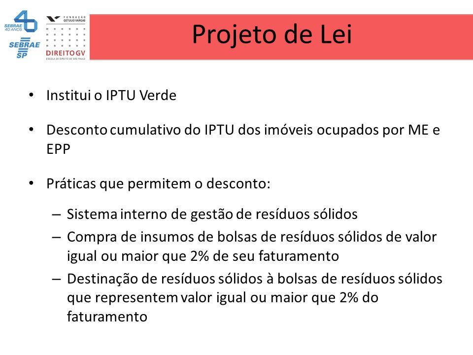 Projeto de Lei Institui o IPTU Verde