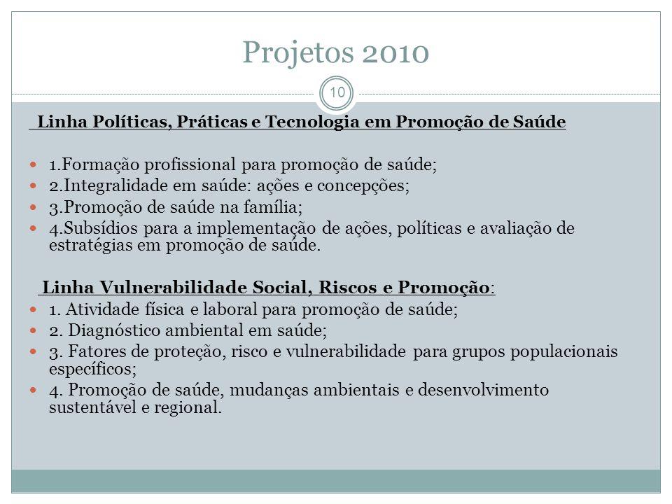 Projetos 2010 1.Formação profissional para promoção de saúde;