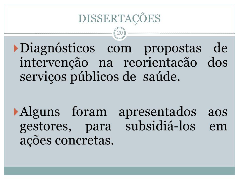 DISSERTAÇÕES Diagnósticos com propostas de intervenção na reorientacão dos serviços públicos de saúde.
