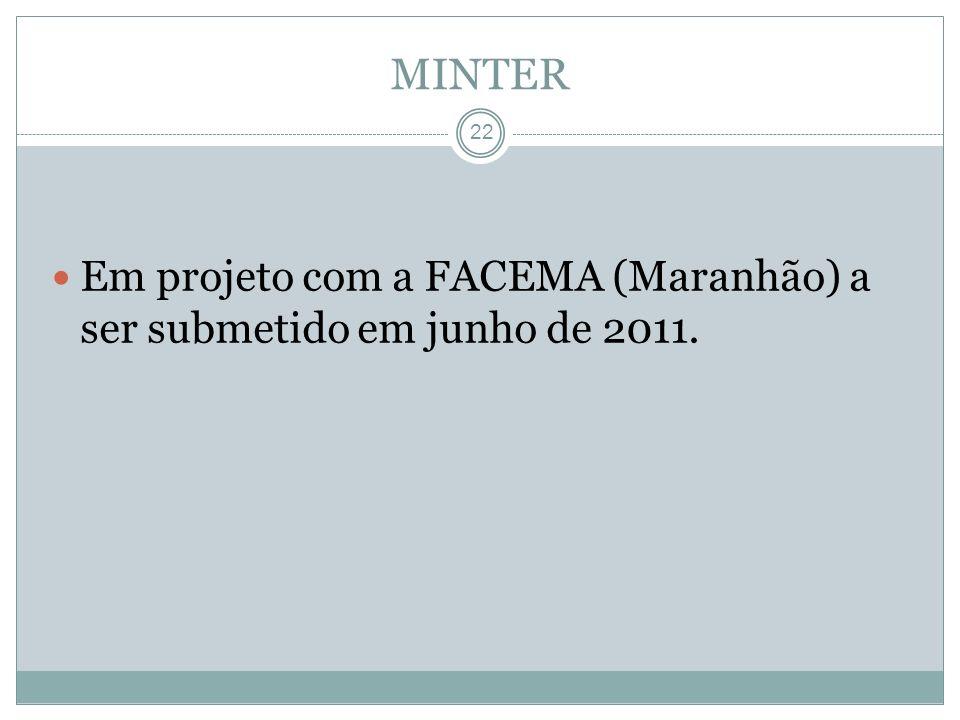 MINTER Em projeto com a FACEMA (Maranhão) a ser submetido em junho de 2011.