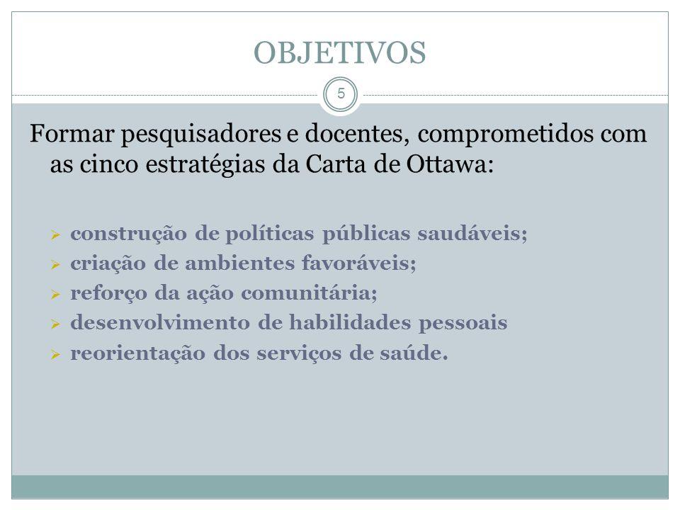 OBJETIVOS Formar pesquisadores e docentes, comprometidos com as cinco estratégias da Carta de Ottawa: