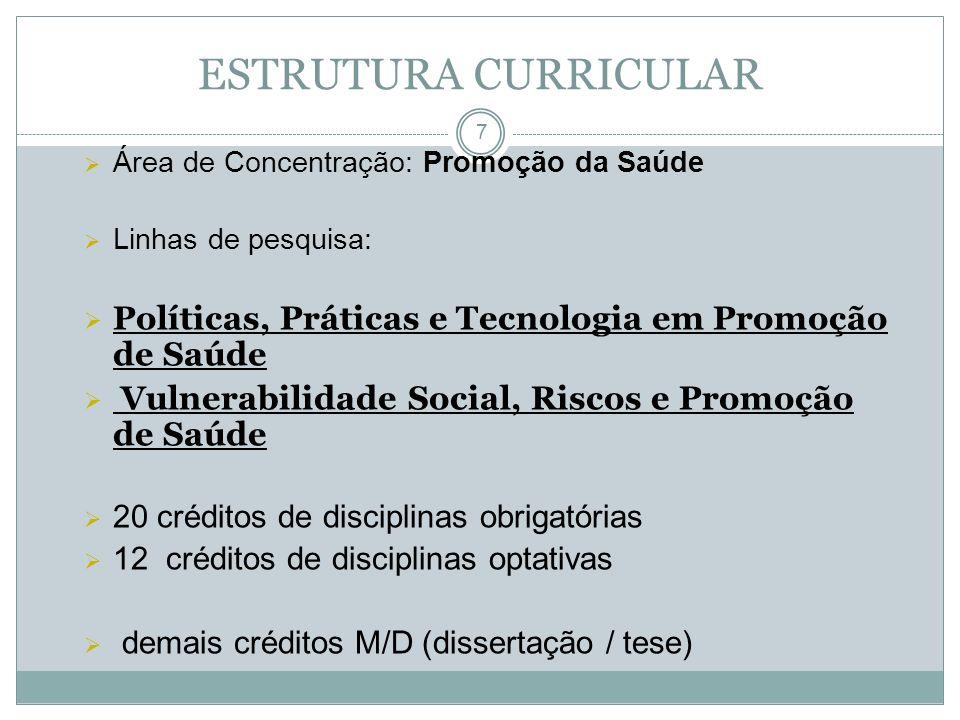 ESTRUTURA CURRICULAR Área de Concentração: Promoção da Saúde. Linhas de pesquisa: Políticas, Práticas e Tecnologia em Promoção de Saúde.