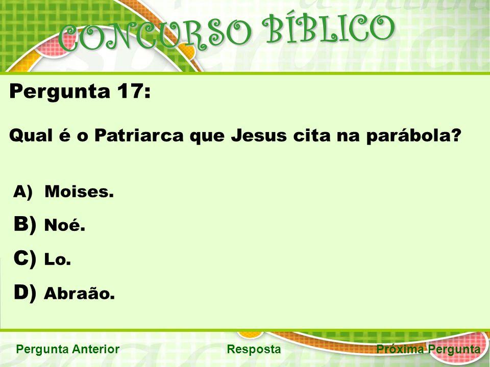 CONCURSO BÍBLICO Pergunta 17: Noé. Lo. Abraão.