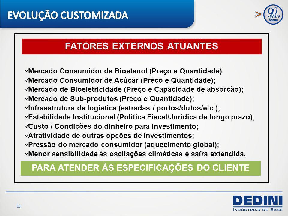 FATORES EXTERNOS ATUANTES PARA ATENDER ÀS ESPECIFICAÇÕES DO CLIENTE