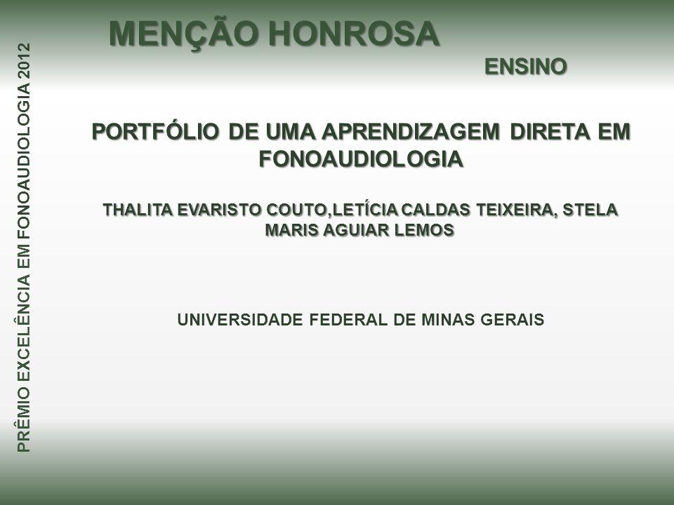 PORTFÓLIO DE UMA APRENDIZAGEM DIRETA EM FONOAUDIOLOGIA