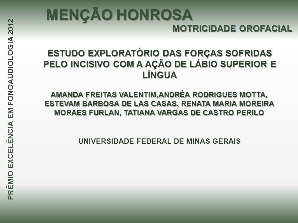 MENÇÃO HONROSA MOTRICIDADE OROFACIAL