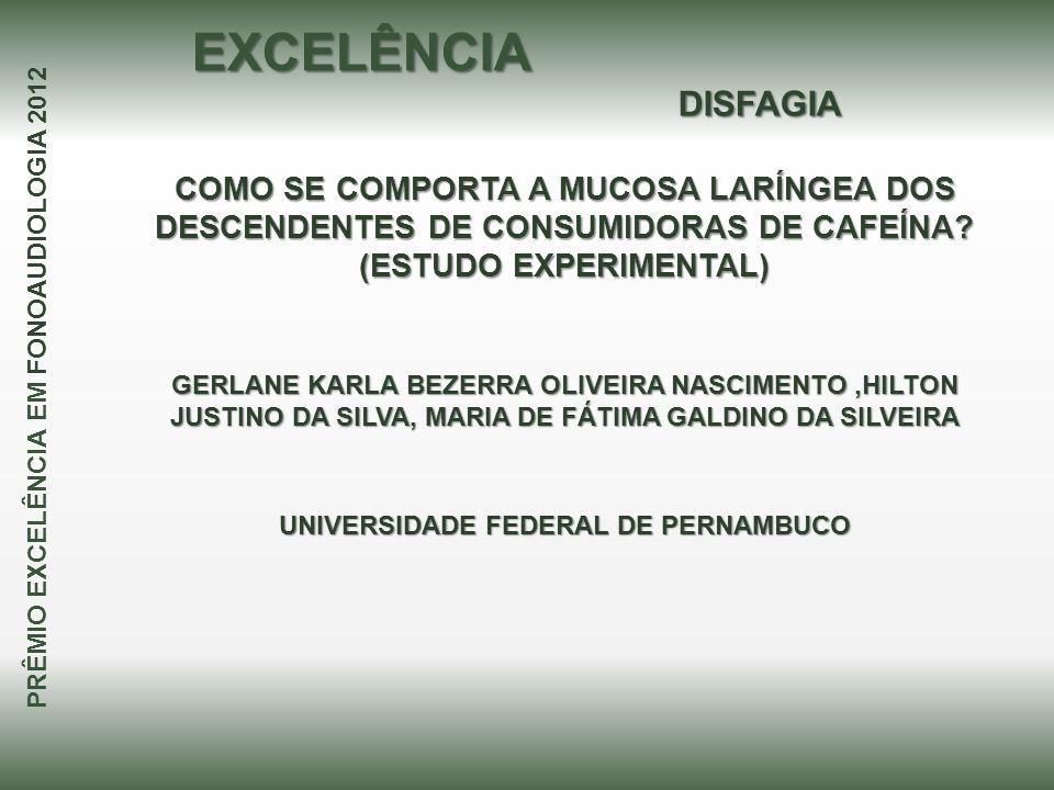 EXCELÊNCIA DISFAGIA. COMO SE COMPORTA A MUCOSA LARÍNGEA DOS DESCENDENTES DE CONSUMIDORAS DE CAFEÍNA (ESTUDO EXPERIMENTAL)