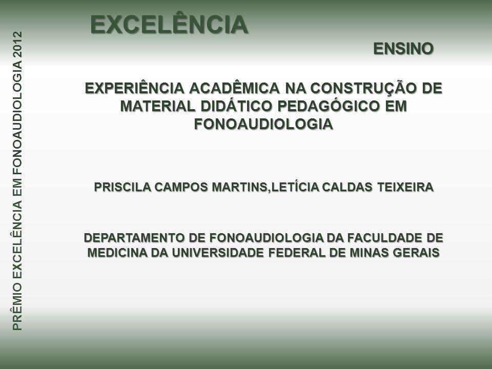 EXCELÊNCIA ENSINO. EXPERIÊNCIA ACADÊMICA NA CONSTRUÇÃO DE MATERIAL DIDÁTICO PEDAGÓGICO EM FONOAUDIOLOGIA.