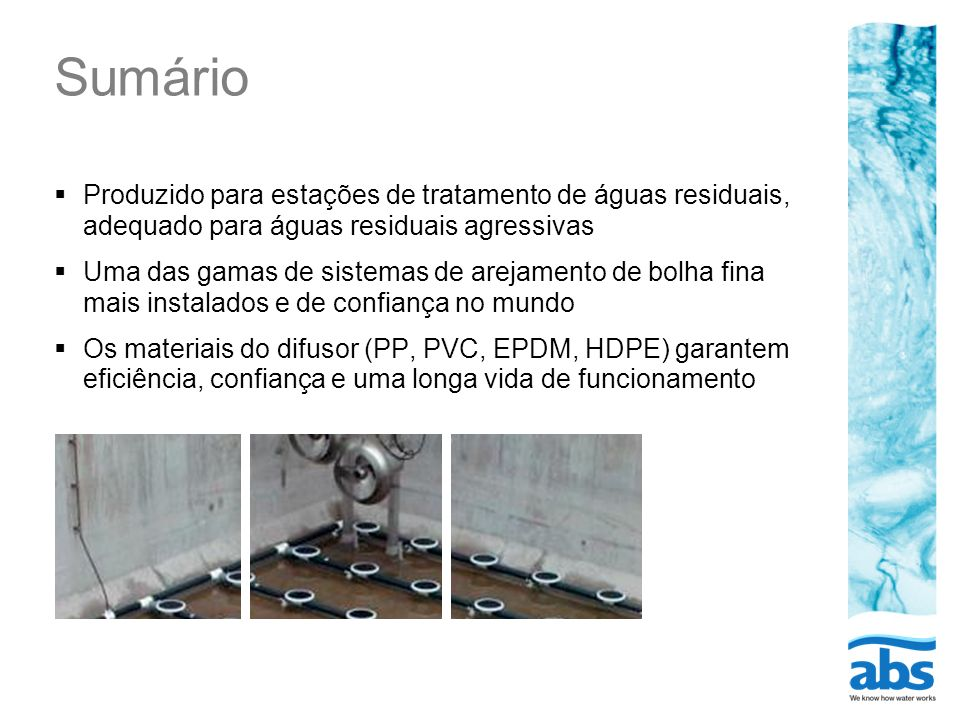 Sumário Produzido para estações de tratamento de águas residuais, adequado para águas residuais agressivas.