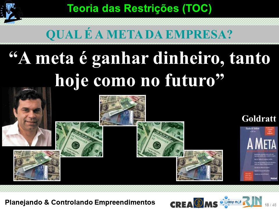 A meta é ganhar dinheiro, tanto hoje como no futuro