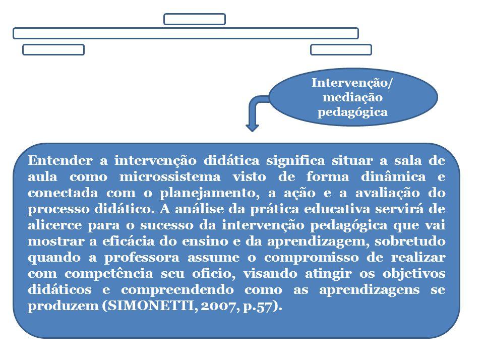 Intervenção/ mediação pedagógica