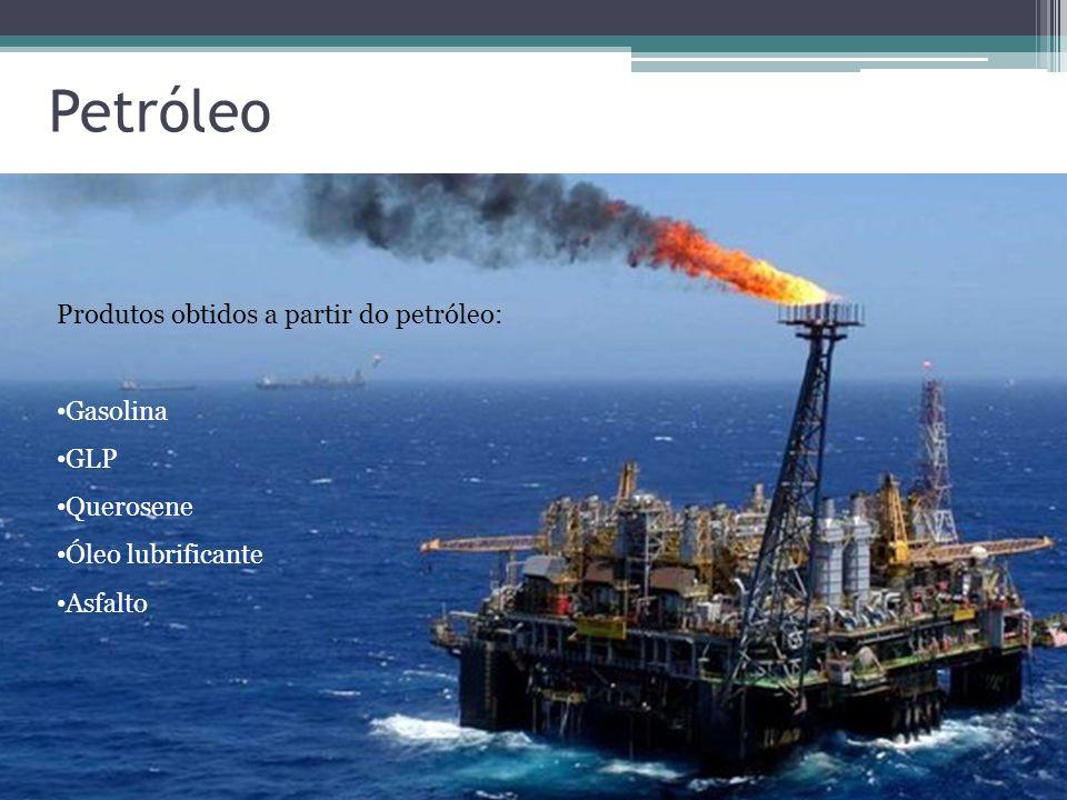 Petróleo Produtos obtidos a partir do petróleo: Gasolina GLP Querosene