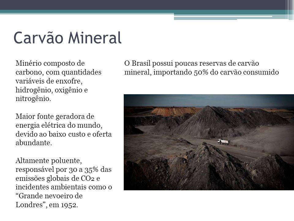 Carvão Mineral Minério composto de carbono, com quantidades variáveis de enxofre, hidrogênio, oxigênio e nitrogênio.