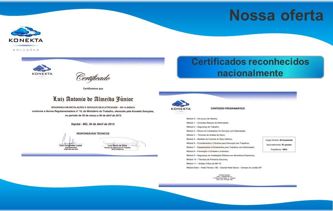 Certificados reconhecidos nacionalmente
