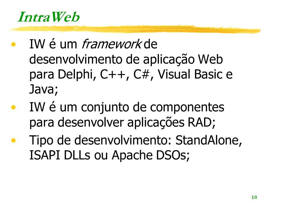 IntraWeb IW é um framework de desenvolvimento de aplicação Web para Delphi, C++, C#, Visual Basic e Java;