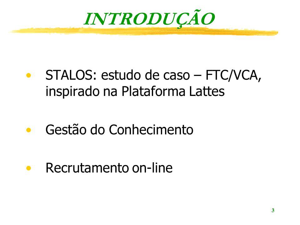 INTRODUÇÃO STALOS: estudo de caso – FTC/VCA, inspirado na Plataforma Lattes. Gestão do Conhecimento.