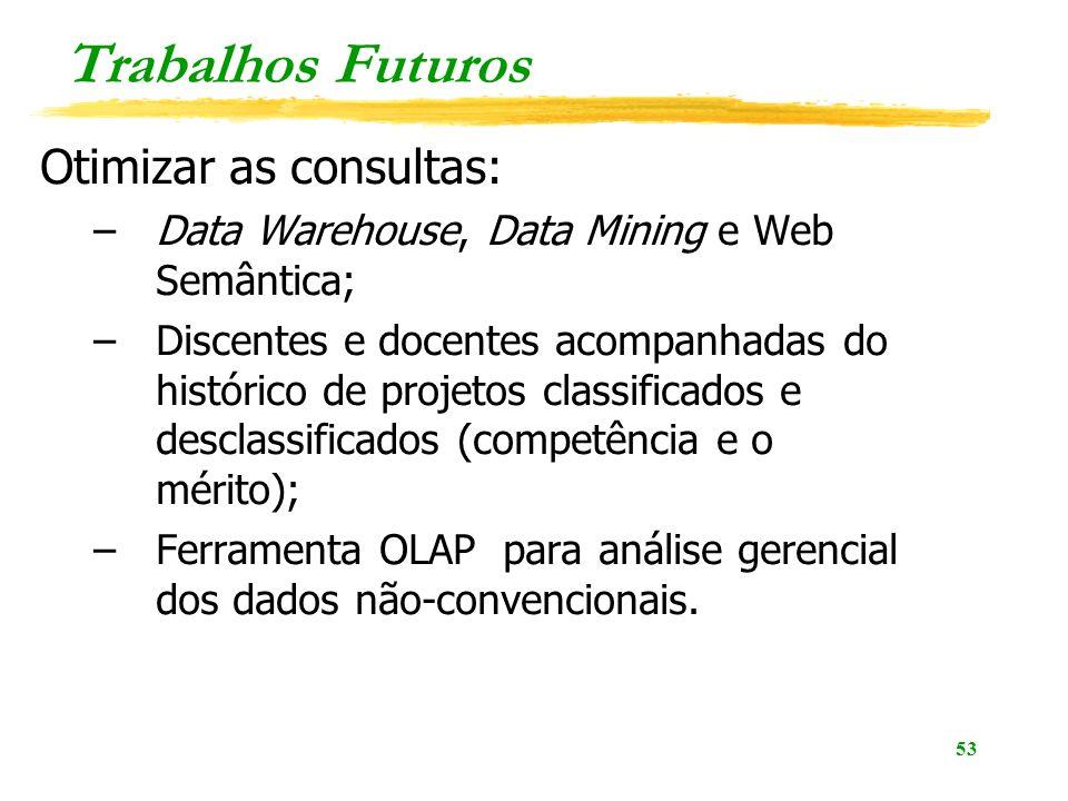 Trabalhos Futuros Otimizar as consultas: