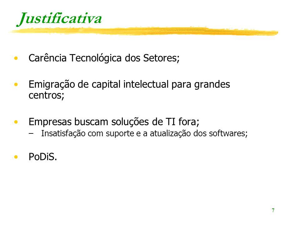 Justificativa Carência Tecnológica dos Setores;