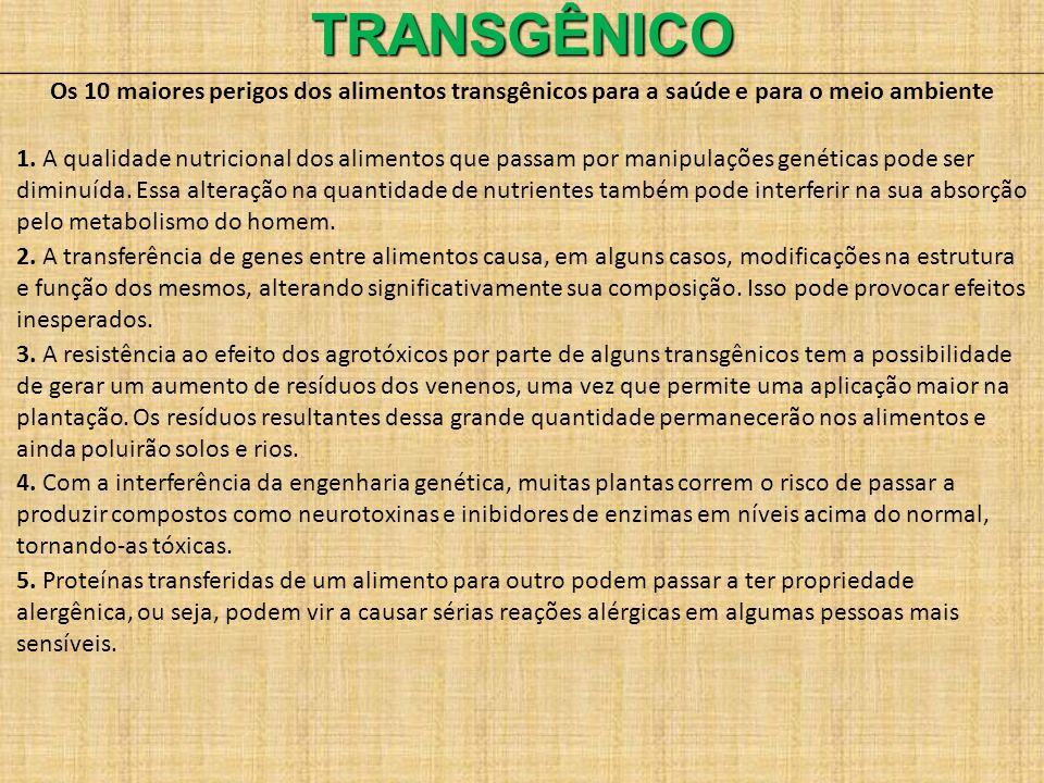 TRANSGÊNICO Os 10 maiores perigos dos alimentos transgênicos para a saúde e para o meio ambiente.
