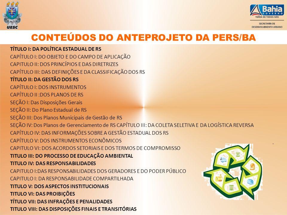 CONTEÚDOS DO ANTEPROJETO DA PERS/BA
