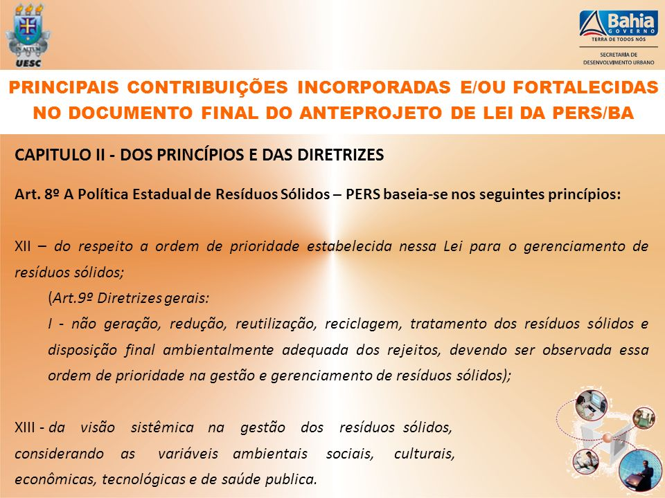 CAPITULO II - DOS PRINCÍPIOS E DAS DIRETRIZES