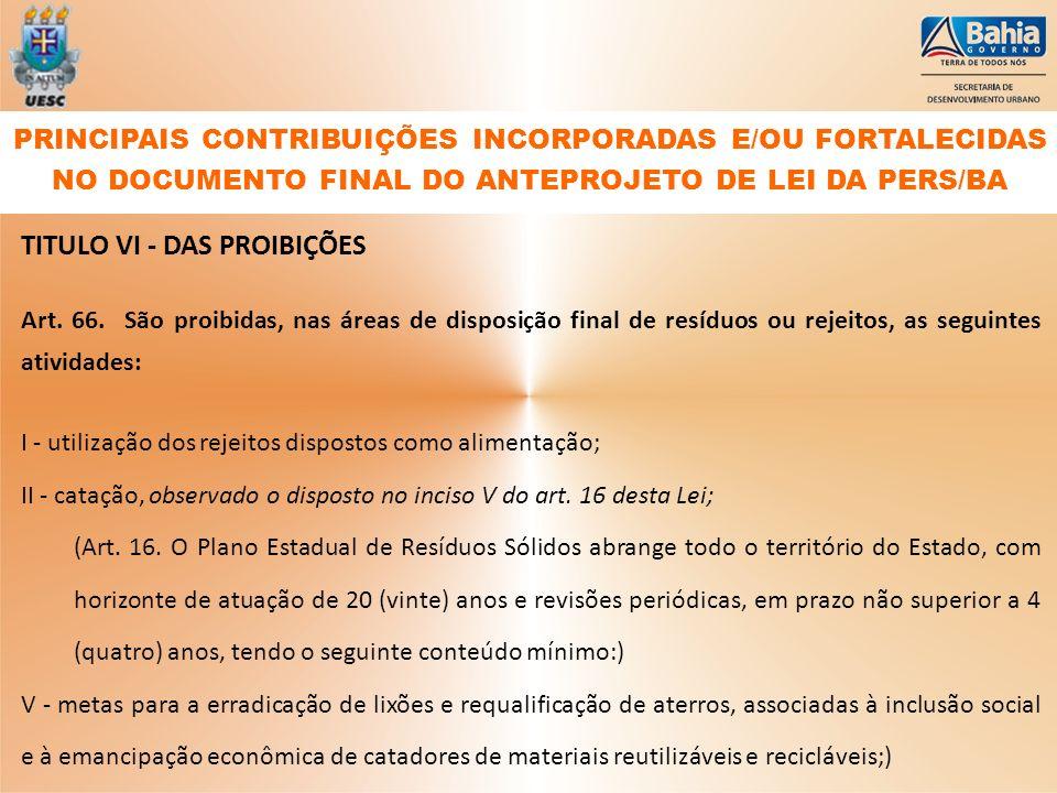 TITULO VI - DAS PROIBIÇÕES