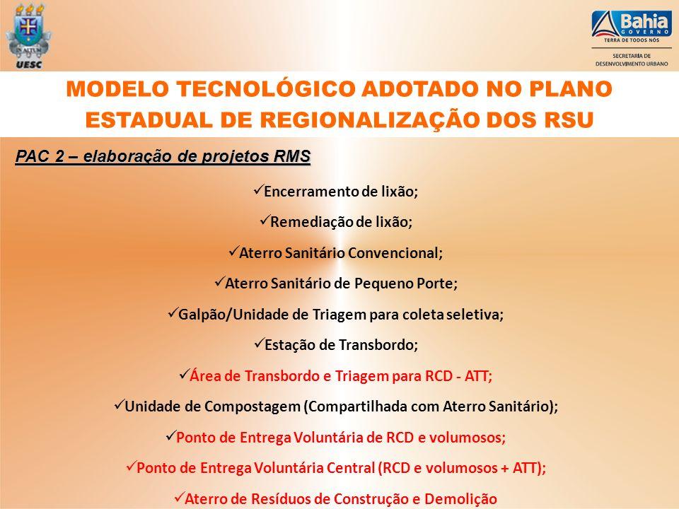 MODELO TECNOLÓGICO ADOTADO NO PLANO ESTADUAL DE REGIONALIZAÇÃO DOS RSU