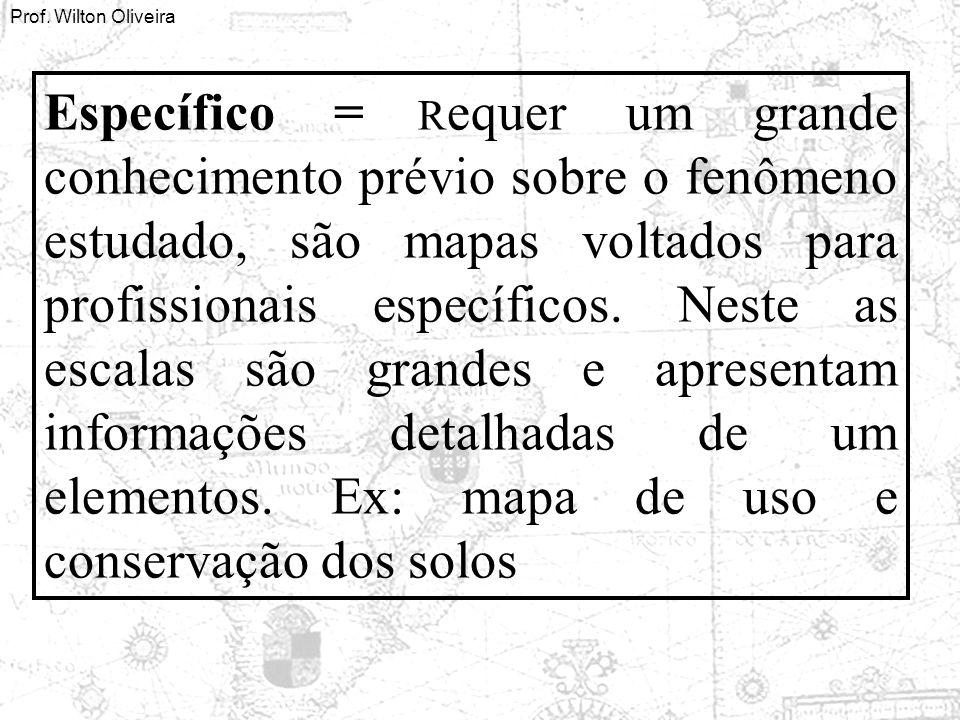 Específico = Requer um grande conhecimento prévio sobre o fenômeno estudado, são mapas voltados para profissionais específicos.