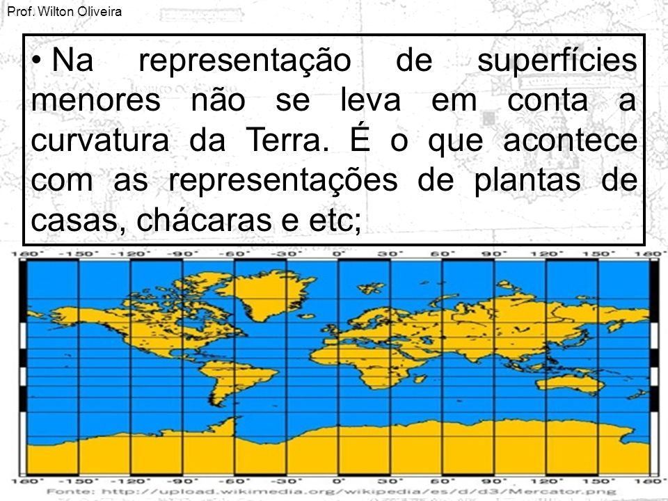 Na representação de superfícies menores não se leva em conta a curvatura da Terra.