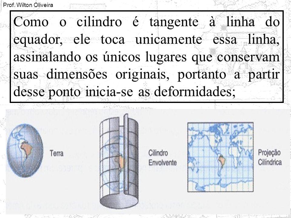 Como o cilindro é tangente à linha do equador, ele toca unicamente essa linha, assinalando os únicos lugares que conservam suas dimensões originais, portanto a partir desse ponto inicia-se as deformidades;