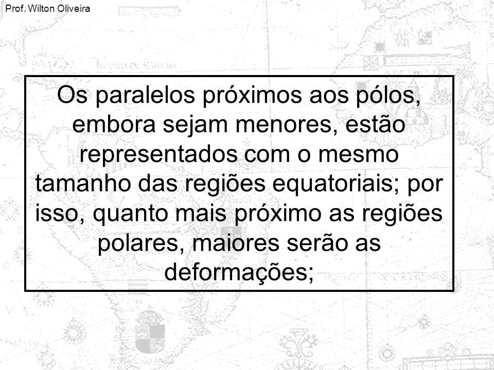 Os paralelos próximos aos pólos, embora sejam menores, estão representados com o mesmo tamanho das regiões equatoriais; por isso, quanto mais próximo as regiões polares, maiores serão as deformações;