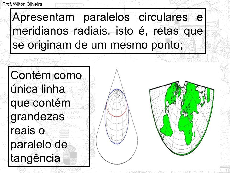 Apresentam paralelos circulares e meridianos radiais, isto é, retas que se originam de um mesmo ponto;