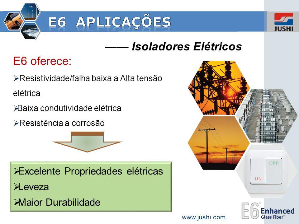 E6 aplicações —— Isoladores Elétricos E6 oferece: