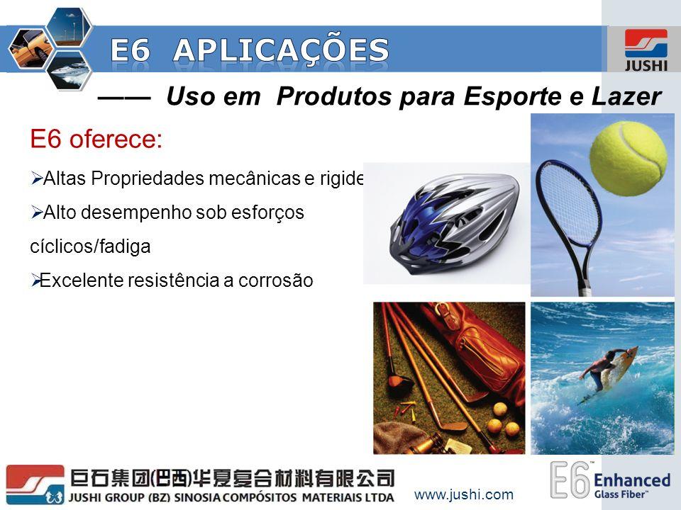 E6 aplicações —— Uso em Produtos para Esporte e Lazer E6 oferece: