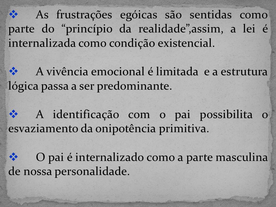 As frustrações egóicas são sentidas como parte do princípio da realidade ,assim, a lei é internalizada como condição existencial.