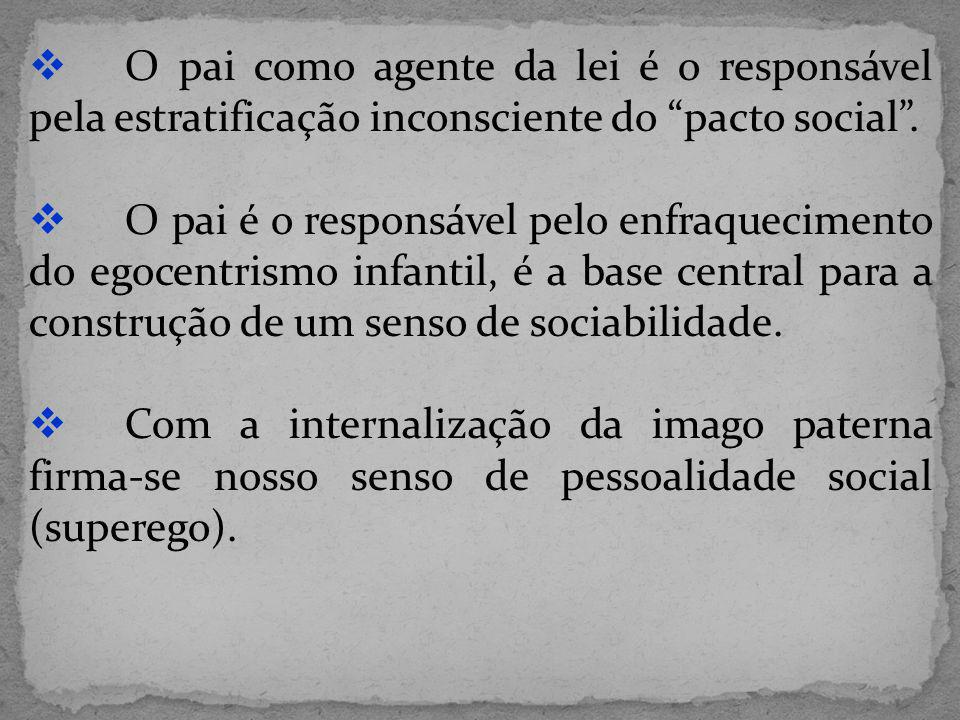 O pai como agente da lei é o responsável pela estratificação inconsciente do pacto social .