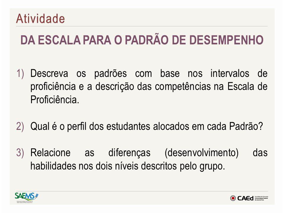 DA ESCALA PARA O PADRÃO DE DESEMPENHO